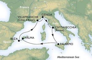 7-Night Roundtrip from Genoa or Rome
